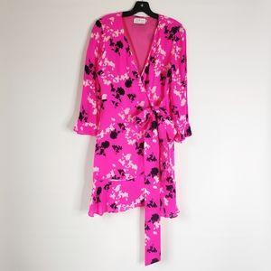Tanya Taylor Chiffon Wrap Dress Camo Floral Print